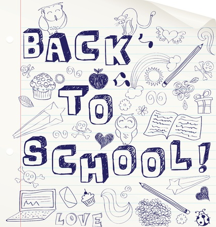 Hand drawn sketchy BACK TO SCHOOL design on a notebook. Vector