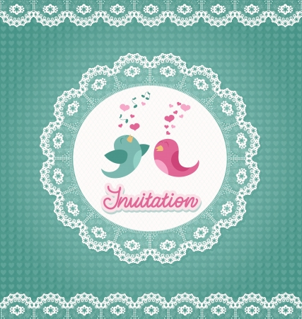 Wedding invitation on hearts background and lace ornaments. Vector