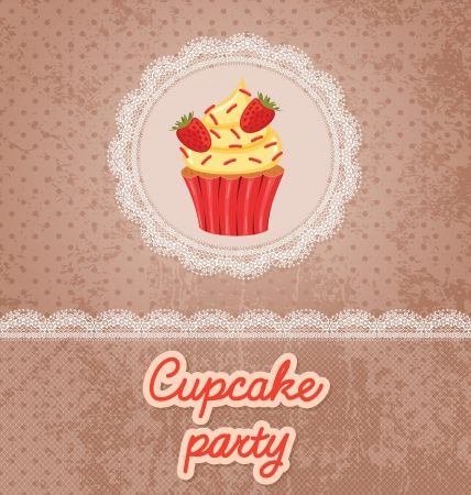 Card with lace and cupcake. Vector