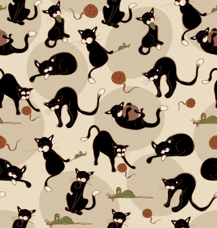 Black cats in acction seamless pattern. Vector