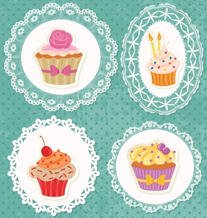 cupcake illustration: Cupcakes on laces frames on polka dot grunge wallpaper.