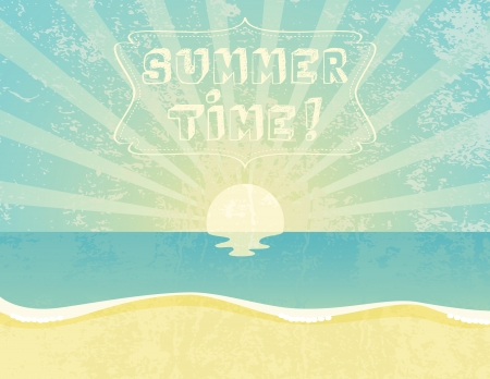 sunbeams background: Summer grunge textured background with Summer Time banner.