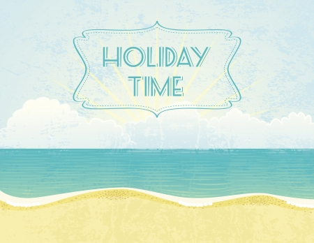 Summer grunge textured background with Holiday Time banner.