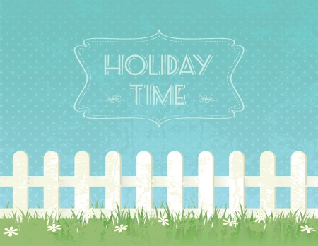 Holiday grunge textured background with fence and flowers. Vector