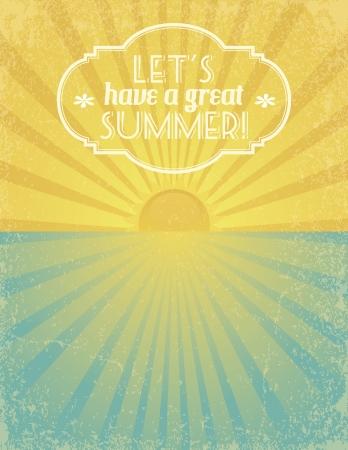seasides: Summer grunge textured background with banner. EPS10. Illustration