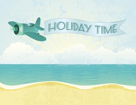 Summer grunge textured background with plane and banner. Illusztráció