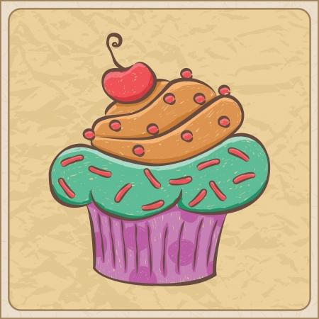 Hand drawn sketchy cupcake on a wrinkled paper. Illusztráció