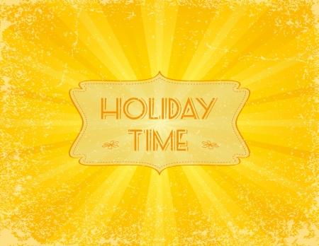 Holiday sunbeam textured background with retro banner. EPS10. Illusztráció