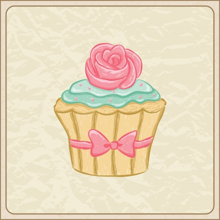 bake: Hand drawn sketchy cupcake on a wrinkled paper. Illustration