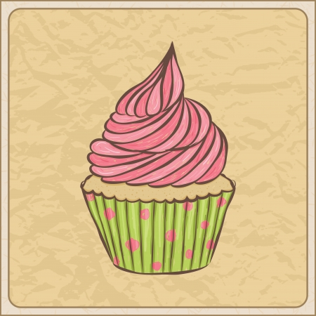 birthday cupcakes: Hand drawn sketchy cupcake on a wrinkled paper. Illustration