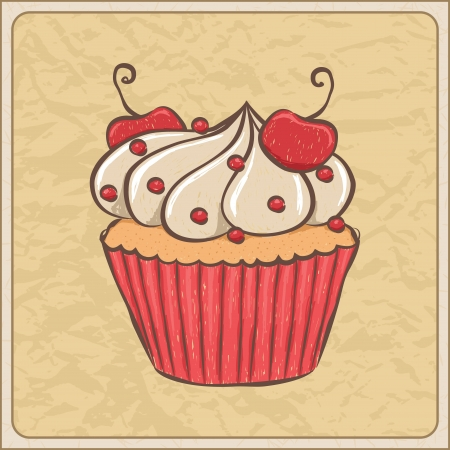 Hand drawn sketchy cupcake on a wrinkled paper. Stock Vector - 20071311