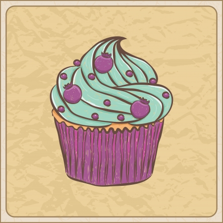Hand drawn sketchy cupcake on a wrinkled paper. Vector