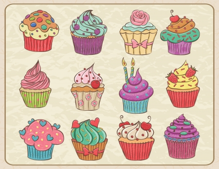 Hand drawn sketchy set of cupcakes on a wrinkled paper. Vector