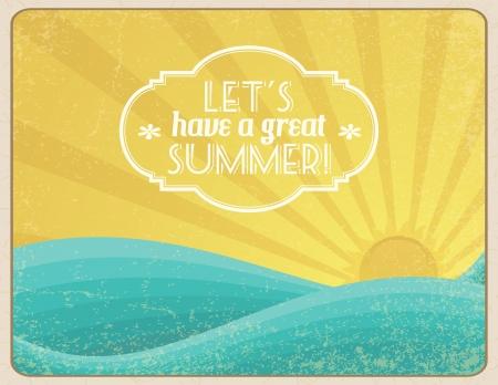 Grunge framed sunset on the ocean with banner. Illusztráció