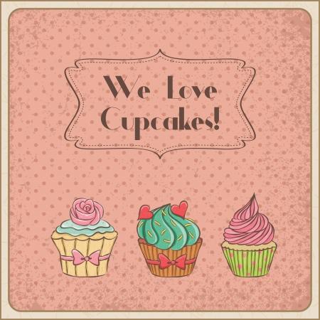 We love cupcakes vintage card. Illusztráció