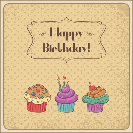 Birthday card with cupcakes, banner and grunge background. Vector