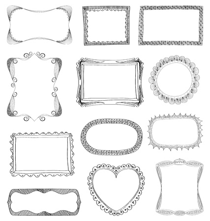 old pencil: Hand drawn frames set with different ornaments Illustration