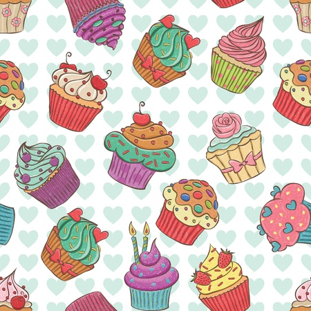 Seamless pattern made of hand drawn cupcakes.  イラスト・ベクター素材