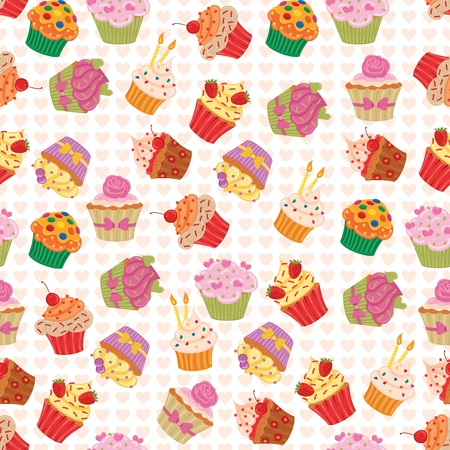 bake: Seamless pattern made of yummy cupcakes. Illustration