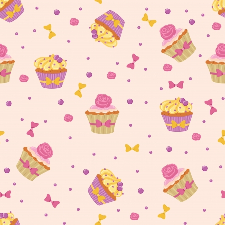 blueberry muffin: Seamless pattern made of yummy cupcakes. Illustration
