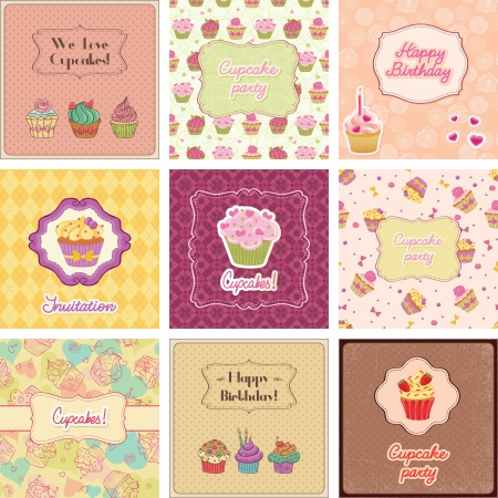 Cupcake cards collection. Suitable for different ocations.  イラスト・ベクター素材