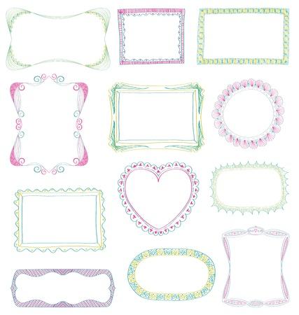 Hand drawn frames set with different ornaments Illusztráció