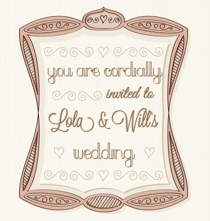 Vintage hand drawn wedding invitation.