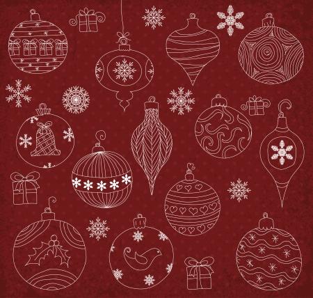 Hand drawn Christmas Ornaments collection. Illusztráció