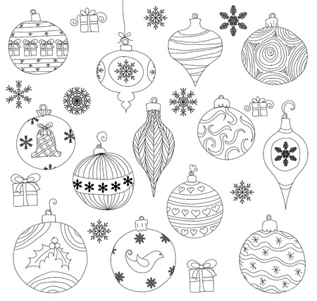Hand drawn Christmas Ornaments collection. Isolated. Vector
