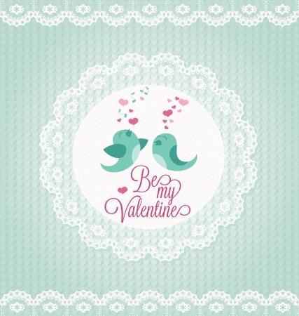 ornated: Scheda di San Valentino con due uccelli ornata di pizzo.