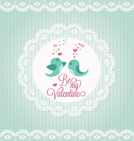 ornated: Valentines Day Card with two birds ornated with lace. Illustration