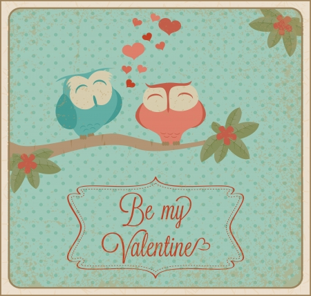 Valentines day card with owls. Vector