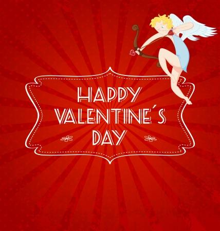 Valentines day card with cupid. Illusztráció