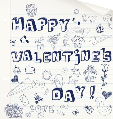 Valentines day hand drawn card on a notebook. Illusztráció