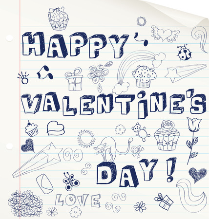 Valentine's day hand drawn card on a notebook. Vector