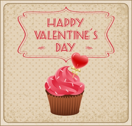 Valentines day card with cupcake. Vector