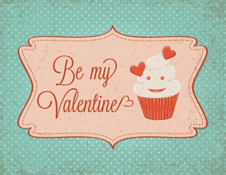 Valentine's day card with cupcake. Vector