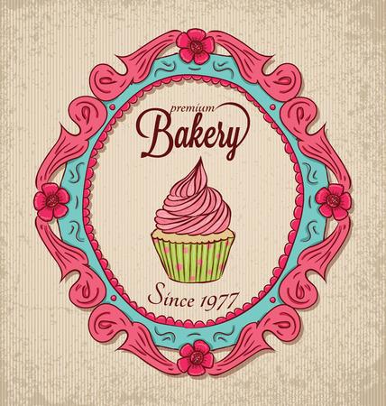 Vintage bakery with frame and cupcake. Illusztráció
