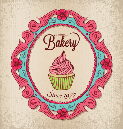 Vintage bakery with frame and cupcake. Vector
