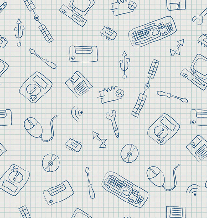 floppy: Seamless pattern of retro technology elements.