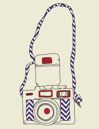 Hand drawn sketchy vintage camera. Illusztráció