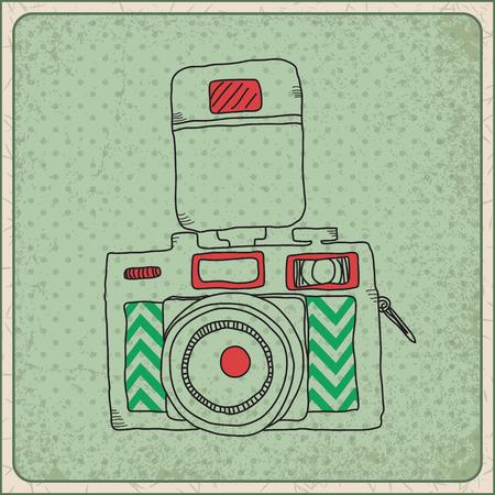 Framed hand drawn vintage camera.