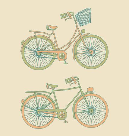 Women and men retro bicycles.