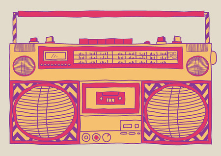 Hand drawn sketchy vintage boombox.