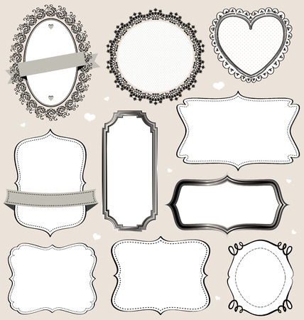 baroque picture frame: Isolated vector vintage frames collection.