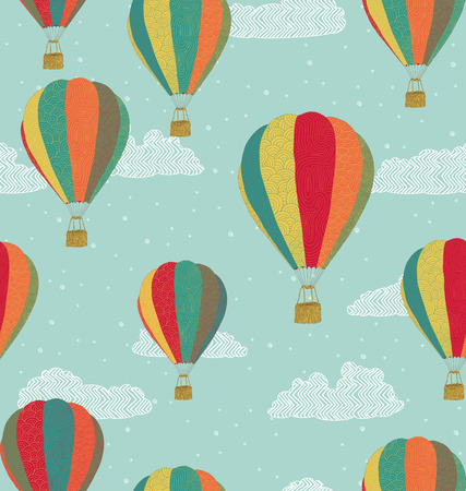 hot: Hot air balloons seamless pattern Illustration