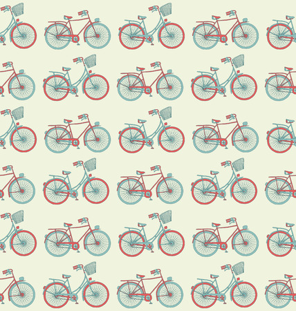 sketchy: Bicycle seamless retro sketchy pattern