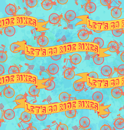 lets: Bicycle seamless pattern with Lets go ride bikes banner. Illustration