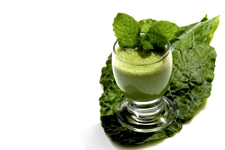 vegtables: Glass of purified green leafy vegtables with fiber