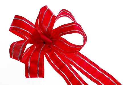 inlay: Large Red bow with silver inlay on white background Stock Photo